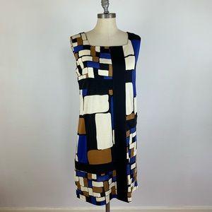 Diane Von Furstenberg Color Block Silk Dress